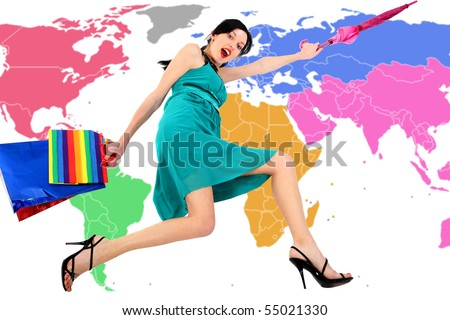Forward! On Sale! Active beautiful sexual girl  on  world map  background