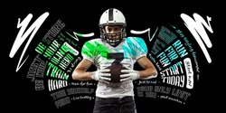 Forward. Poster with sportive african-american man, american football player in motion and action with ball isolated on dark background with lettering, graphics and quotes. Collage