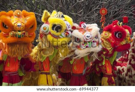 FOSHAN CITY - JANUARY 28: Chinese New Year Lion Dance January 28, 2010 in Foshan, China