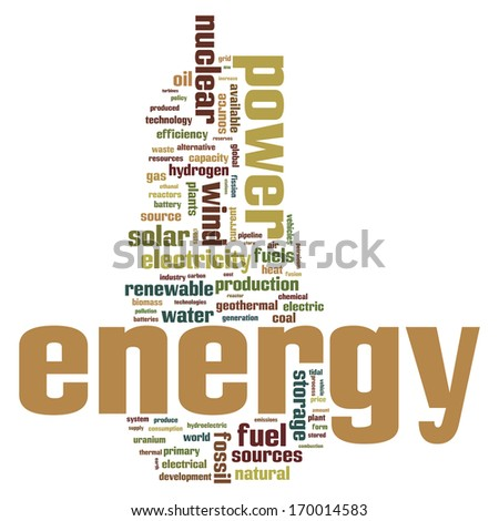 Fossil and alternative energy sources word cloud