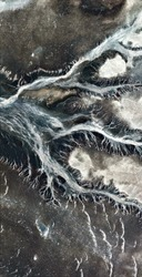 fossil arteries, vertical abstract photography of the deserts of Africa from the air, aerial view of desert landscapes, Genre: Abstract Naturalism, from the abstract to the figurative,