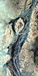 fossil artery, vertical abstract photography of the deserts of Africa from the air, aerial view of desert landscapes, Genre: Abstract Naturalism, from the abstract to the figurative,