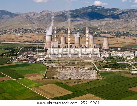Fossil fuel power plant, aerial view - stock photo