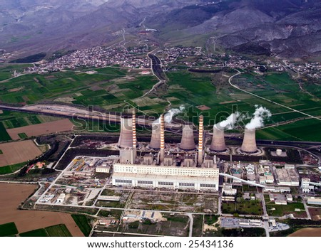 Fossil fuel power plant, aerial view