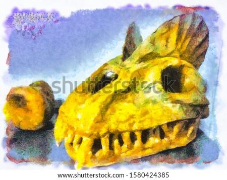 Fossil Skeleton of Dinosaur painting art