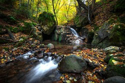 Fotinovo waterfalls (Fotinski waterfall) in Rhodopes Mountain, Pazardzhik region, Bulgaria. Amazing autumn landscape