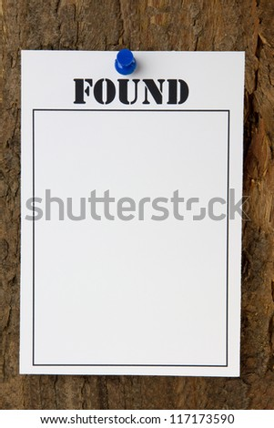 Found notice pinned to a tree stump - with copy space