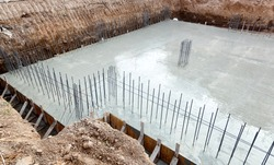 Foundation of a new house with reinforced concrete.
