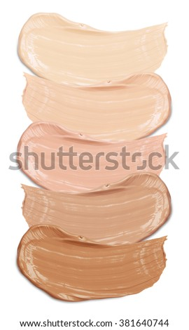 Shutterstock foundation swatches on white