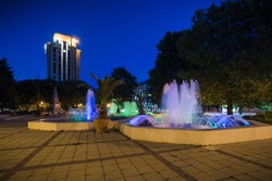 Fountain and night light in the town-hall square in Varna, Bulgaria