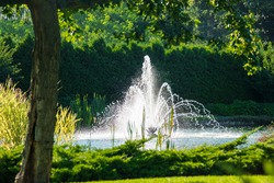 Fountain and pond. Nature in summer. Peaceful place outside the town. Rest for mind and body.