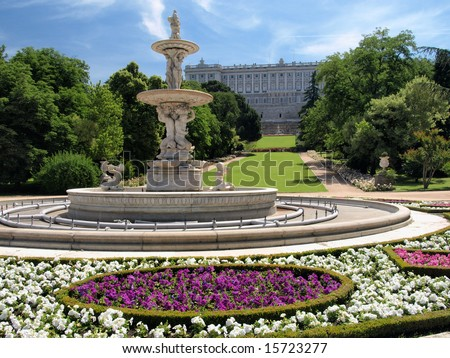 Fountain and Royal Palace of Madrid
