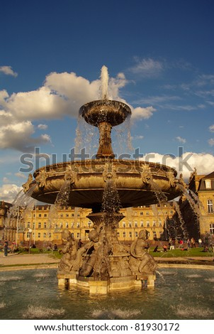 Fountain at Castle square in Stuttgart