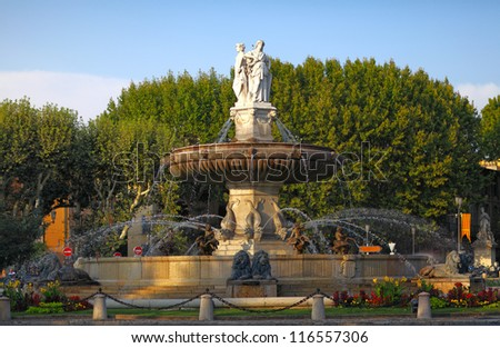fountain at La Rotonde at sunset, Aix-en-Provence, Provence, Fra