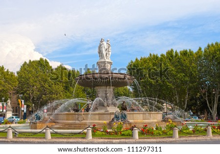 fountain at La Rotonde at sunset, Aix-en-Provence, Provence, France
