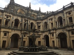 Fountain at the Convent of Christ in Tomar, Portugal. Former Templar knights Stronghold and UNESCO world heritage site.