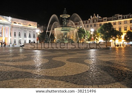 Fountain at the Rossio by night (Lisbon)