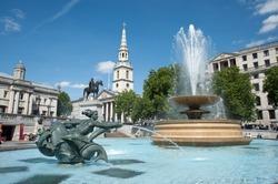 Fountain at Trafalgar Square, London, UK