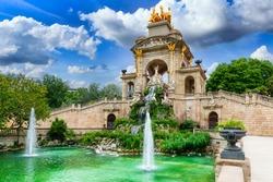 Fountain cascade in park De la Ciutadella in Barcelona, Catalonia, Spain. Architecture and landmark of Barcelona. Cozy cityscape of Barcelona