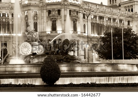 Fountain Cibeles in black and white, Madrid (Spain) - stock photo