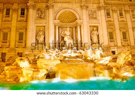 Fountain  di Trevi - most famous Rome's fountains in the world. Italy. Night scene.