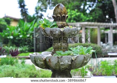 Fountain  in a Brazilian botanical garden in Rio de Janeiro Brazil
