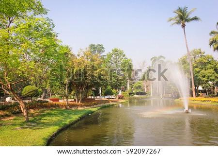 Fountain in a public park Buak Haad Park Chiang Mai thailand