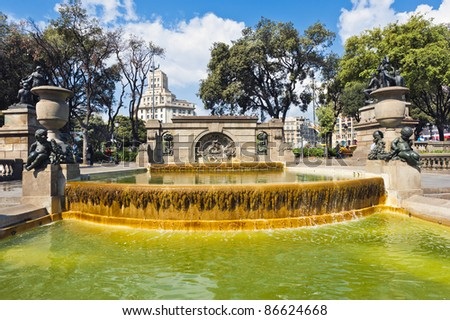 Fountain in Central Park in Barcelona