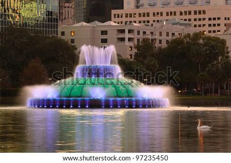 Fountain in Eola Lake in Orlando, Florida