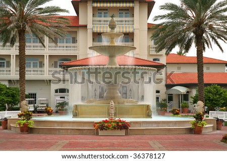 Fountain in Front of Florida Style Home