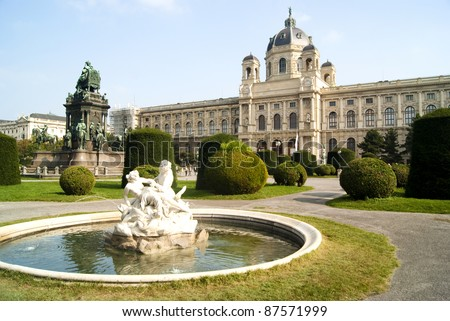 Fountain in front of The Natural History Museum, Vienna, Austria