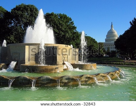 Fountain in front of United States Capitol
