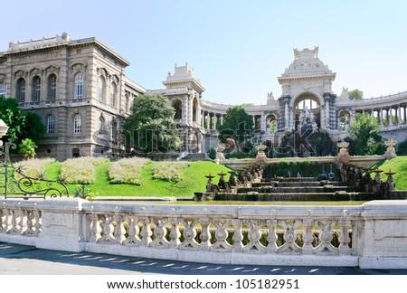 fountain in Palais de Longchamp, Marseilles, France