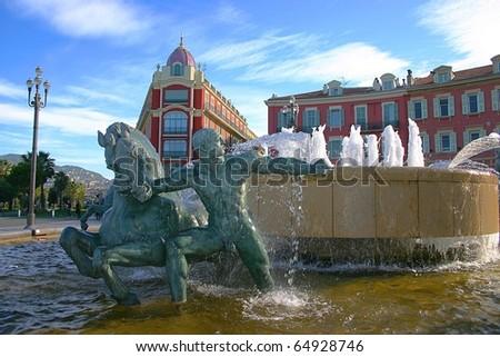 Fountain in Plaza Massena Square, Nice, France
