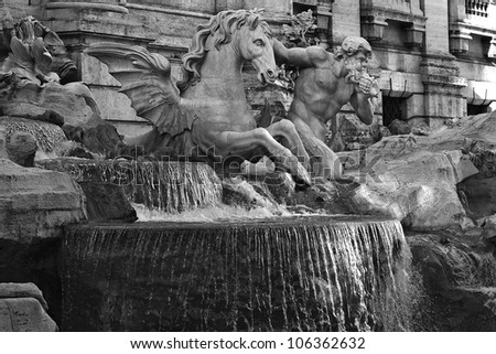 Fountain in Rome, Italy. View of the famous Trevi Fountain
