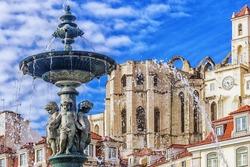 Fountain in Rossio Square in Lisbon