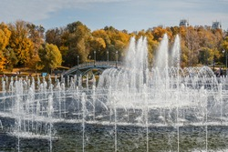 Fountain in Tsaritsyno park on autumn day in Moscow. Russia