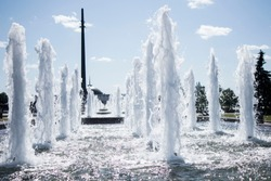 fountain in Victory Park in Moscow