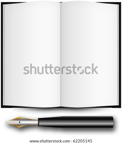 fountain ink pen and open book over white background, abstract art illustration; for vector format please visit my gallery