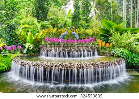 Fountain inside Singapore\'s National Orchid Garden