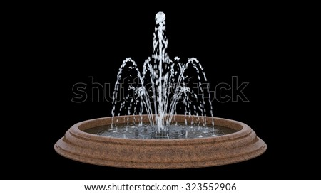 fountain isolated on black background