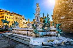 Fountain Neptune in Piazza della Signoria in Florence, Italy. Florence famous fountain. Florence architecture. One of the main landmarks in Florence
