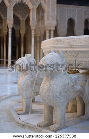 Fountain of Lions in Alhambra, Granada, Spain