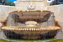 Fountain of Monumento a Felipe in Madrid at Plaza de Oriente