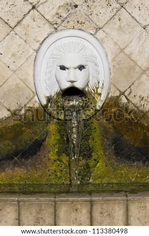 Fountain of mountain Spili, Crete with lion heads Venetian