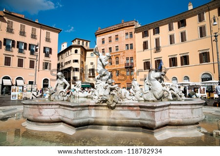 Fountain of Neptune at Piazza Navona - Roma - Italy