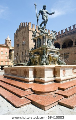 Fountain of Neptune in Bologna. Italy