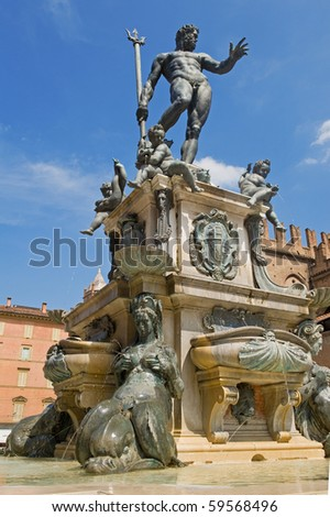 Fountain of Neptune in Bologna. Italy.