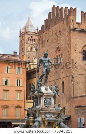 Fountain of Neptune on a Piazza Maggiore. Bologna, Italy