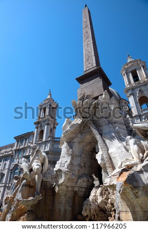 Fountain of Neptune on Piazza Navona in Rome, Italy